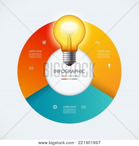 Infographic circle with glowing lightbulb. Creative idea concept with 3 options, steps, parts. Can be used for circular chart, cycle diagram, graph, workflow layout, web design. Vector illustration
