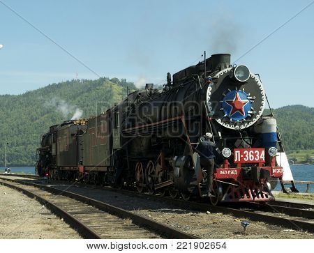 Old Russian train going around Bajkal lake