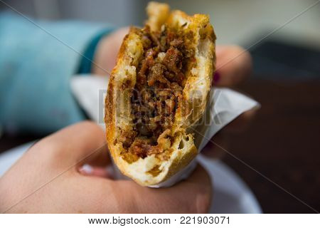 the protein obtained from the lamb's small intestine is a high, nutritious and quite delicious food. famous turkish street food
