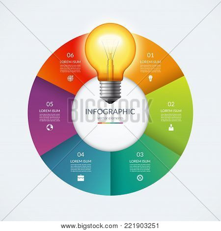 Infographic circle with glowing lightbulb. Creative idea concept with 6 options, steps, parts. Can be used for circular chart, cycle diagram, graph, workflow layout, web design. Vector illustration