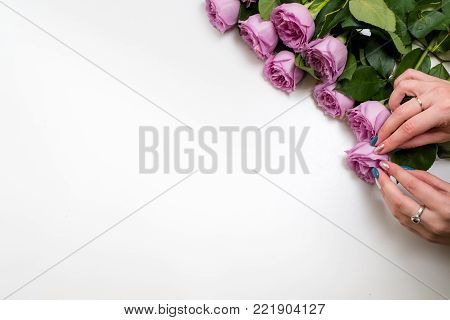 Woman arranging pink roses on white background. Flower delivery. Only fresh and firm buds will be chosen for a client. Copyspace concept