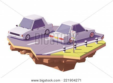 Vector low poly German low emission traffic zone or environmental zone, umweltzone and cars with environmental labels