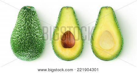 Isolated Cut Avocado