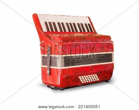 vintage red accordion,isolated on white background with clipping path