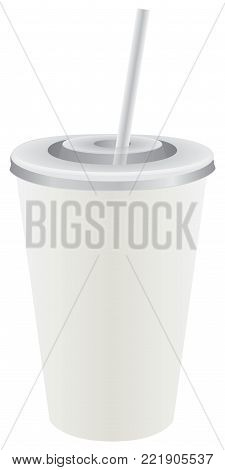 White disposable plastic cup with lid and straw