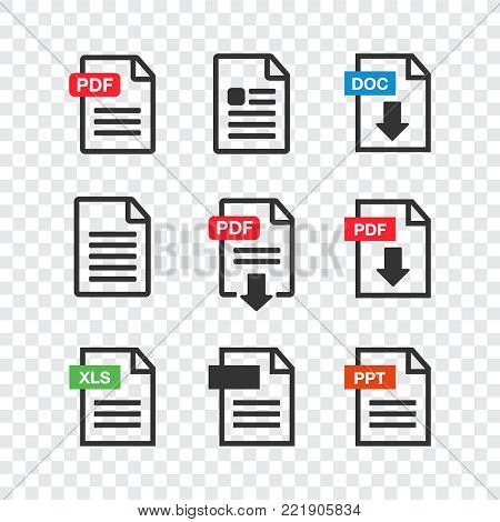 PDF file download icon. Document text, symbol web. Document icon set