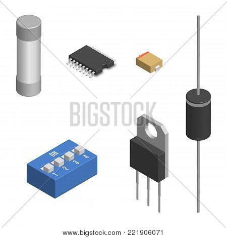 Set of different active and passive electronic components isolated on white background. Resistor, capacitor, diode, microcircuit, fuse and button. 3D isometric style, vector illustration.