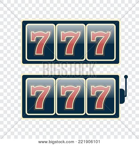 Casino vector sign set. Slot machine symbols. Lucky seven vector
