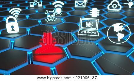 Red hacker and white security symbols floating on black glowing hexagon grid 3D illustration