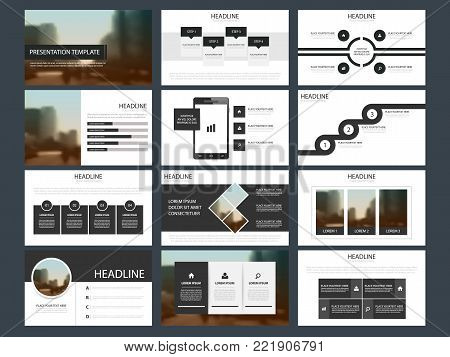 Black Abstract presentation templates, Infographic elements template flat design set for annual report brochure flyer leaflet marketing advertising banner template