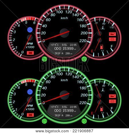 Car dashboard, night mode. Speedometer with red and green backlight. Vector illustration