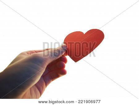 a caussian hand holding a bright red paper love heart isolated on a white background