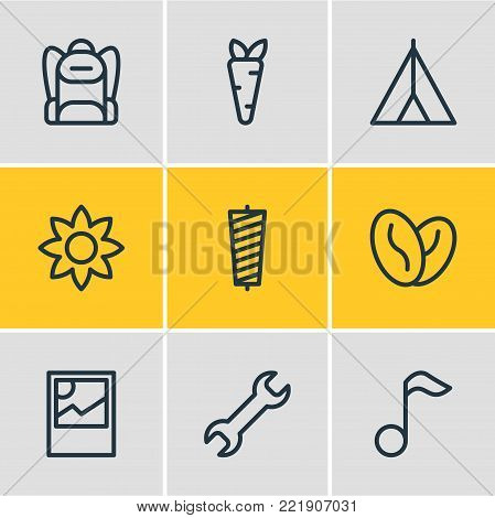 Vector illustration of 9 hobby icons line style. Editable set of veggie, arabica bean, rucksack and other elements.