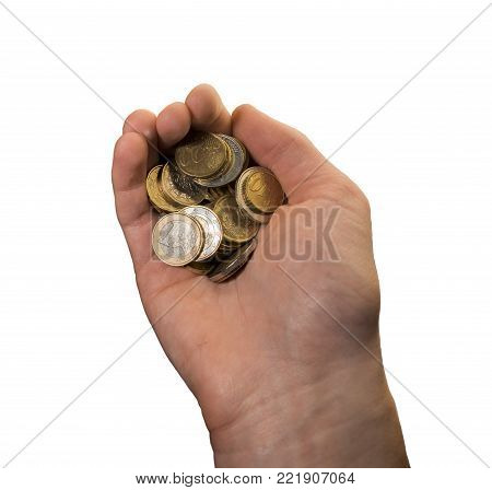 a caucasian human hand holding several euro currency coins isolated on a white background