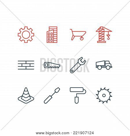Vector illustration of 12 construction icons line style. Editable set of handcart, circle blade, cogwheel elements.