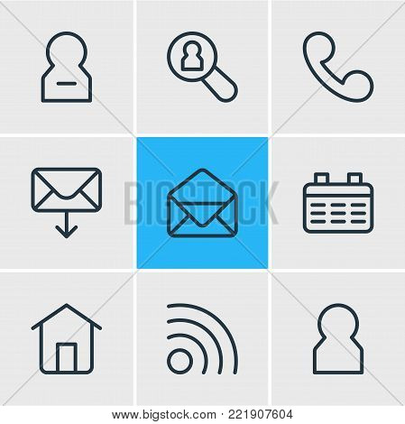 Vector illustration of 9 community icons line style. Editable set of correspondence, network, delete account and other elements.
