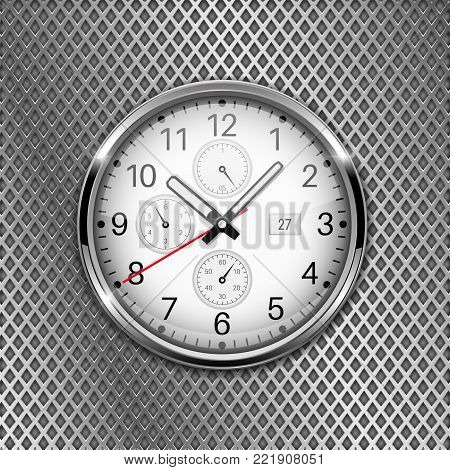 Clock. Metal watch with arabic numerals. Vector 3d illustration on perforated background