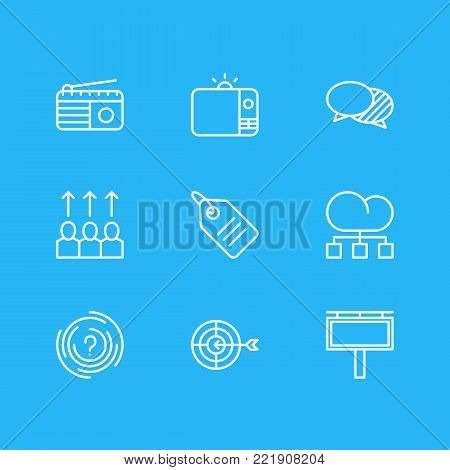 illustration of 9 marketing icons line style. Editable set of radio, aim, price tag and other elements.