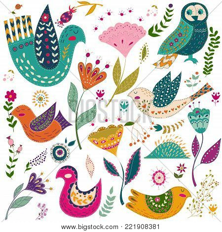 Art set vector colorful illustration with beautiful birds and flowers. Art poster for decoration your interior and for use in your unique design. Scandinavian style. Folk art