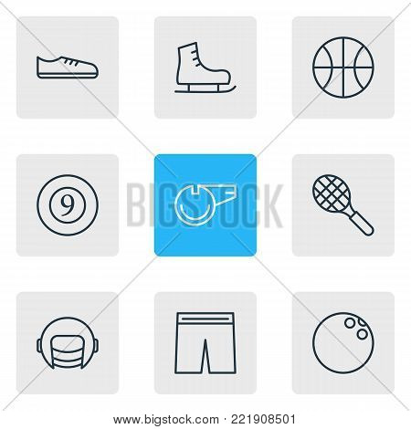 illustration of 9 fitness icons line style. Editable set of ice boot, kegling, hoop and other elements.