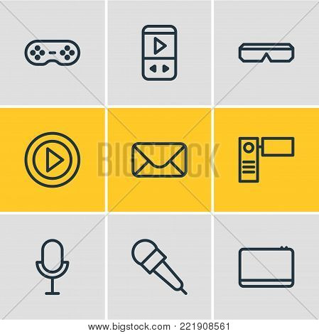 illustration of 9 media icons line style. Editable set of letter, mp3, microphone and other elements.