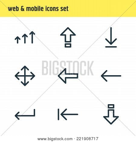 illustration of 9 sign icons line style. Editable set of enter, enlarge, backspace and other elements.