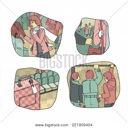Situations provoking theft and loss of money. Broken woman in the fitting room of the store. Theft in the crowd. Left unattended suitcase. A man tears the bag from the woman's shoulder. Raster illustration.