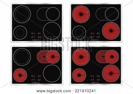 Electric ceramic cook top. Domestic kitchen household appliance. Vector illustration isolated on white background