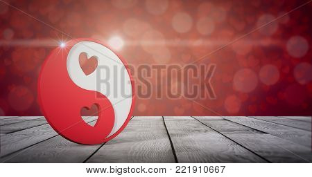 yin and yang symbol with hearts on wooden table, valentines card (3d render)