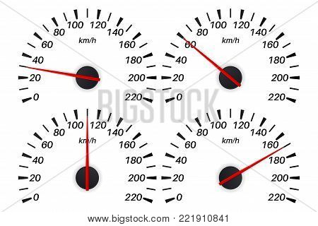 Speedometer scale. Set of speed indication. Vector illustration isolated on white background