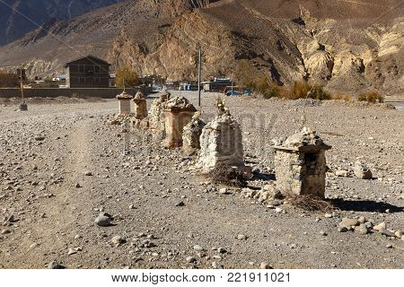 Buddhist chortens on the road from Kagbeni near the town of Jomsom, Nepal