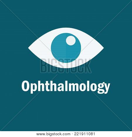 Optician vector logo. Ophthalmology Icon on a blue background