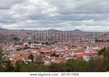 Historic city of Sucre with an aerial view over the Cathedral tower in Bolivia, South America. stock photo