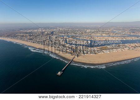 Newport Beach pier and beach in Orange County, California.