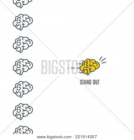 Brain standing out from the crowd of identical plain brains on white background. Business success leadership concept. Symbol of initiative and strategy.