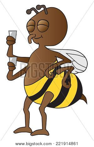 A worker bee is taking a well deserved break with a beverage or two