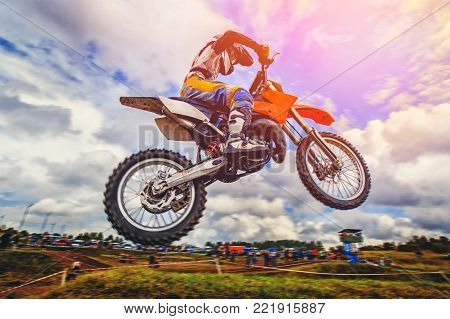 Dirtbike. Dirt bike extreme trick - jump on motocross