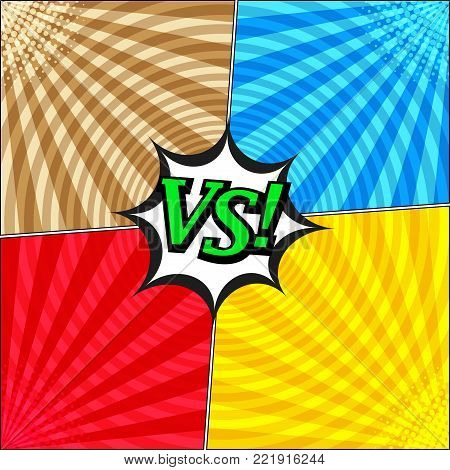 Comic fight confrontational template with four opposite sides, halftone radial and round humor effects on blue red brown yellow backgrounds. Vector illustration