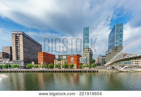 Isozaki Towers, Bilbao, - April 24, 2015: Isozaki towers and Zubizuri footbridge are modern constructions representing new era for the previously industry based city in Bilbao
