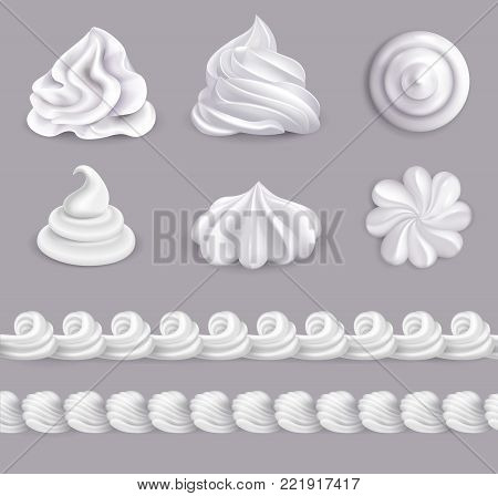 Whipped cream realistic set in different shapes isolated vector illustration