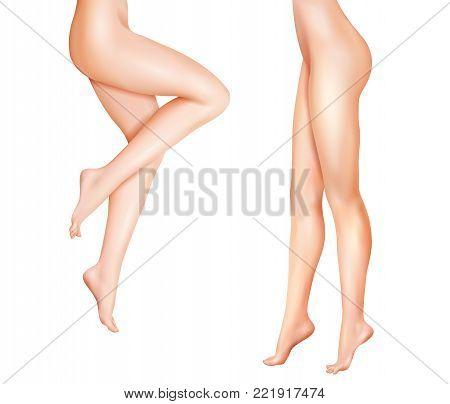Naked female slim legs standing isolated vector realistic illustration