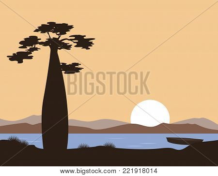 Sunset or sunrise in Africa. Baobab silhouette in front of the lake. Vector landscape. Illustration can be used in brochures, postcards, banner.