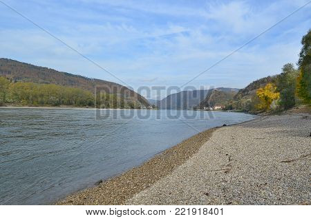 view of the Danube River, region Wachau, Austria