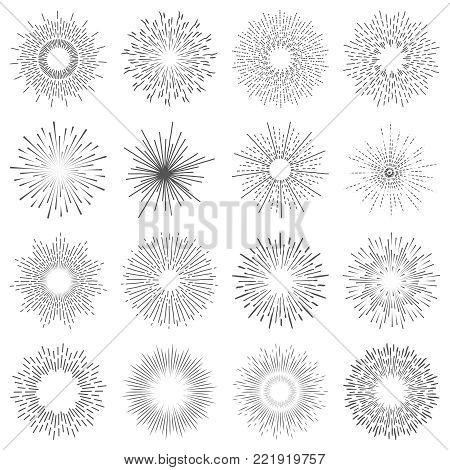 Set of sixteen line light rays. Vintage frames, shapes and design elements