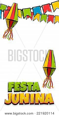 Festa Junina tradictonal June festival Latin America. Brazil village carnival. Vector colo illustration background. Satin glossy comic text vertical pop art style. Glossy logo flashlight flags banner