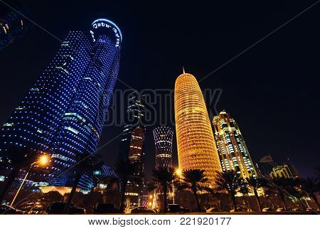 Doha city, Qatar - January 02, 2018: Night scene of the Al Dafna district of the Qatari capital Doha located on the Persian Gulf., Doha, Qatar.