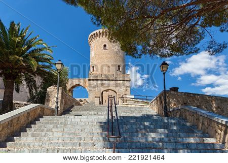 Medieval castle Bellver in Palma de Mallorca, Spain. Medieval castle Bellver, Spain.
