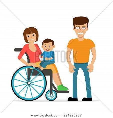 Disabled young woman in wheelchair with her son and husband. Flat vector characters in isolated background. Concept for happy family,  lifestyle and opportunities for people with disability.