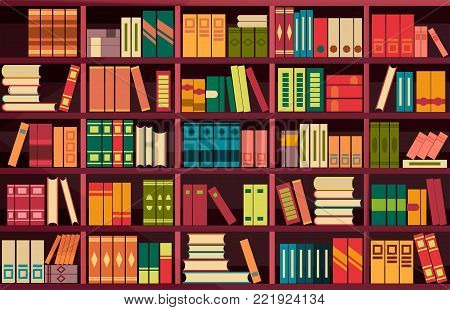 vector illustration seamless pattern background retro bookshelf in flat style