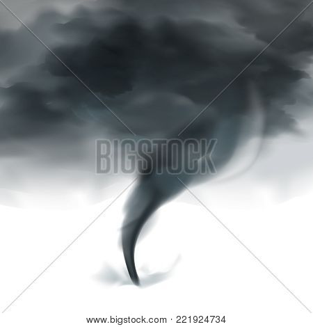 Tornado twister funnel spinning into dark cloudy stormy sky  black white shades background realistic image vector illustration